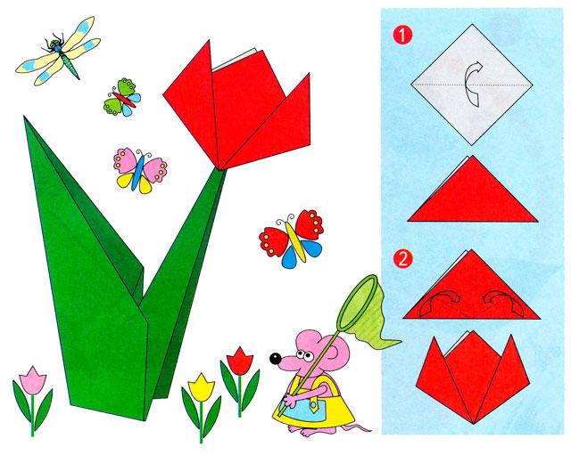 Днем, открытки оригами из бумаги к 8 марта
