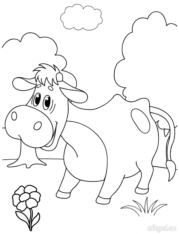 Телёнок. Раскраска для детей дошкольного возраста