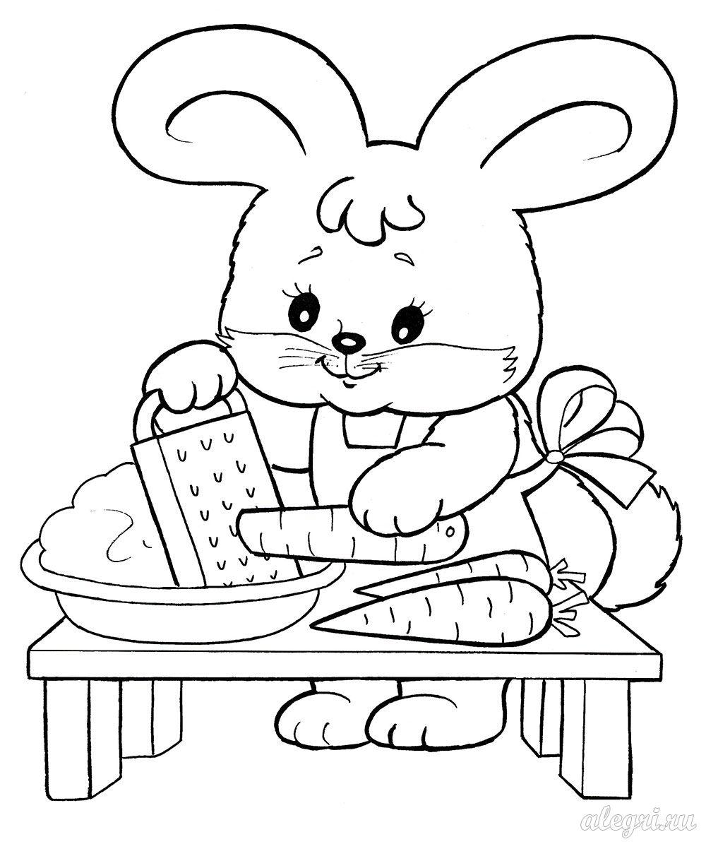 Раскраска для детей дошкольного возраста. Зайчонок