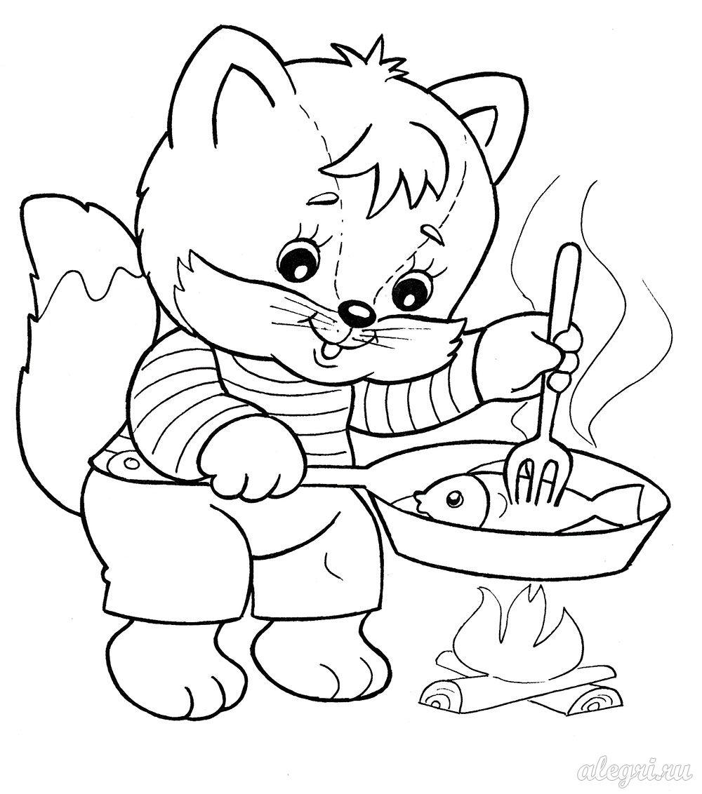 Раскраска для детей дошкольного возраста. Котёнок - поварёнок