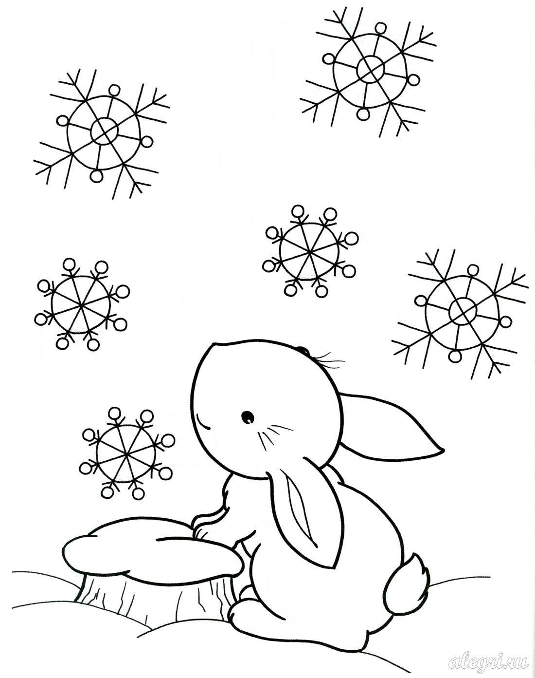 раскраска зайчик зимой