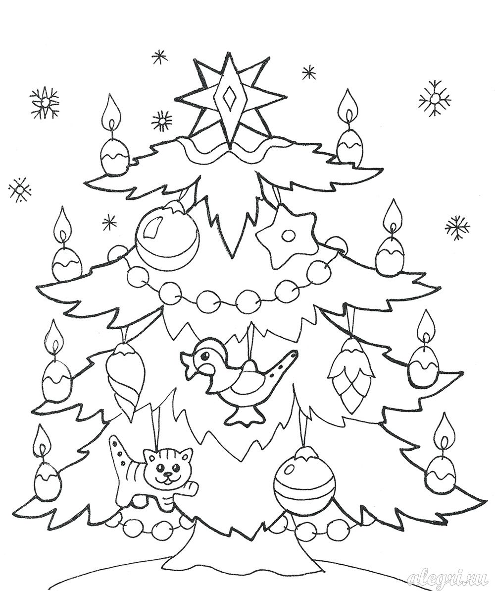 Раскраски к Новому году для детей 5-6-7 лет. Распечатать ...