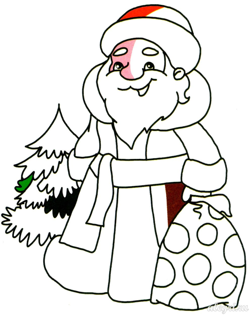 Раскраска. Дед Мороз с подарками