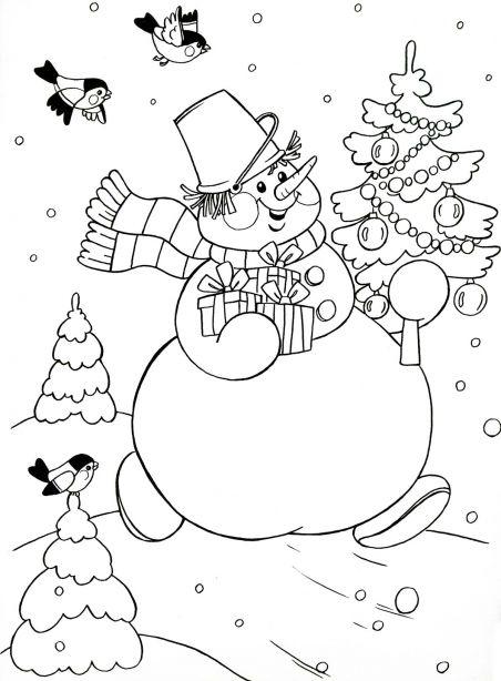 Раскраска. Снеговик с подарками