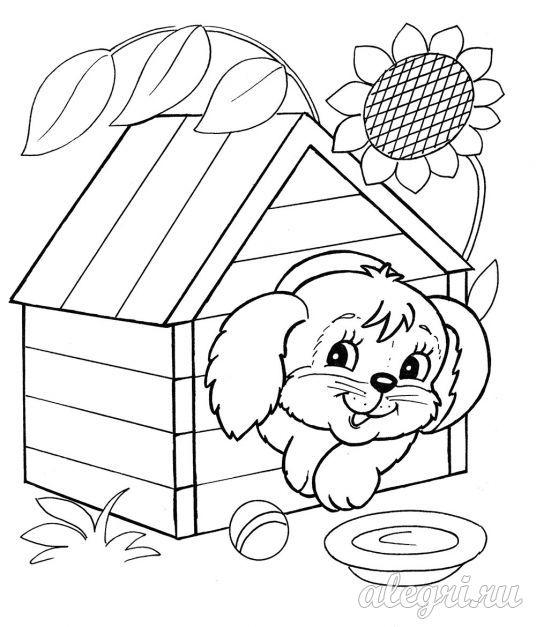 Раскраска для детей дошкольников. Собака в будке