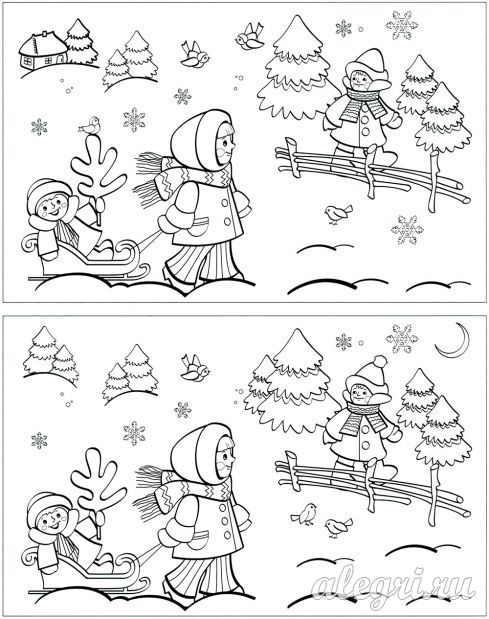 Раскраска на тему Зима